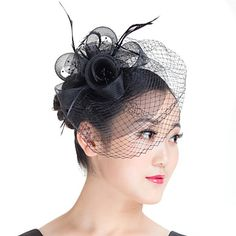 Lady Mesh Feather Birdcage Veil Flowers Fascinators Bridal Headpiece Church Hat White/Black - CAD $ 16.67