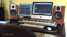 STUDIO 2009 - This is our studio in year 2009. Very simple set up. Apple iMac 21 inch, external monitor Acer, M-Audio keyboards, Jamo speakers, Sennheiser headphones, Apple keyboard, mouse and remote control. Sony stereo. Logic Studio with Logic Pro 8.