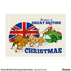 "Postcard with a retro style illustration of Santa Claus riding on a double-decker bus with reindeer and the union jack flag with the words ""Have a Great British Christmas. British Christmas, Father Christmas, Retro Christmas, Christmas Gifts, Jack Flag, Double Decker Bus, Saint Nicholas, Santa And Reindeer, Holiday Postcards"
