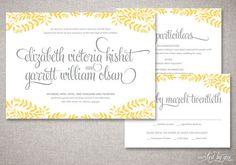 "Floral Frame ""Elizabeth"" Wedding Invitations Suite - Rustic Calligraphy Shabby Chic Invite - Custom Digital Printable or Printed Invitation"