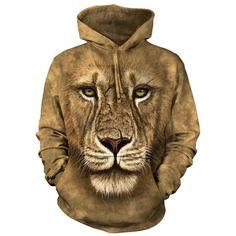 Lion Warrior, Big Face, Mountain Lion, 3d T Shirts, Tie Dye Hoodie, Cool Hoodies, Zoo Animals, Gothic, Hooded Sweatshirts