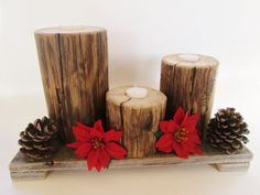 Candle Centerpiece, Set of 4, Reclaimed Wood Candle Holders, Christmas Centerpiece, Rustic Home Decor
