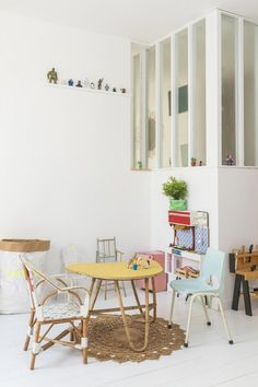 Super cute vintage furniture in the playroom of a charming and relaxed Biarritz home. Julien Fernandez.