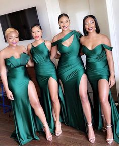 Dark Green Bridesmaid Dresses Country Mixed Order Custom Made Wedding Party Guest Gown Junior Maid of Honor Dress High Split Cheap Bridesmaid Dresses Online, Wedding Bridesmaid Dresses, Dream Wedding Dresses, Wedding Attire, Wedding Gowns, African Bridesmaid Dresses, Emerald Green Bridesmaid Dresses, Royal Blue Bridesmaids, Emerald Green Weddings