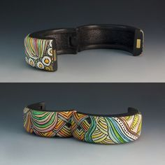 Colored Zentangle cuff by Bettina Welker-- Hinged with magnetic clasp.
