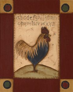 free images for primitive decor. | Primitive Country on Primitive Rooster Country Kim Lewis Framed ...