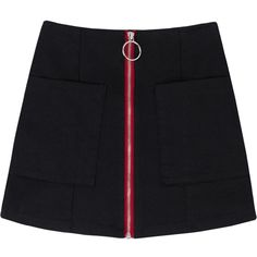 Contrast Zipper Mini Skirt (110 BRL) ❤ liked on Polyvore featuring skirts, mini skirts, bottoms, sexy mini skirts, high rise skirts, short mini skirts, mini skirt and sexy miniskirts