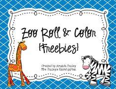 Zoo Roll & Color {Freebie} PreK- 1st