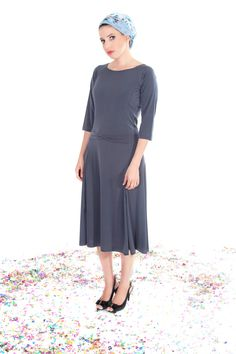 Gray modest midi dress - Dress with small bow - Dress with sleeves - Dress on clearance by TAMARLANDAU on Etsy