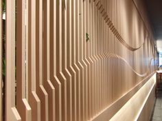 Wooden wall with curve lines