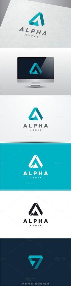 Alpha Media - Buchstabe A Logo - Design Logo Branding, Typography Logo, Branding Design, Lettering, Logo Inspiration, Logos Online, Graphisches Design, Design Color, Shape Design