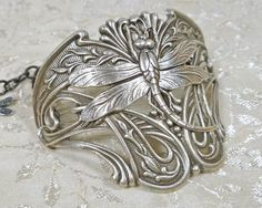 Art Nouveau Dragonfly Large Half Cuff Bracelet. $24.00, via Etsy.