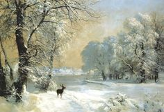 Deer in a Snow-Covered Landscape, 1890 👨‍🎨 Anders Andersen-Lundby (Dec 16 1841 - Jan 4 1923) was a Danish landscape painter