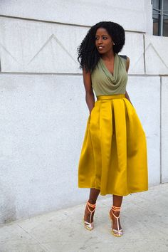 Ecstasy Models — Cowl Neck Blouse + Moss Box Pleat Skirt by Style...