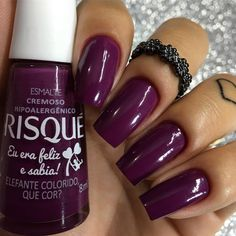 Nails coffin design purple ideas for 2019 Nail Ring, Manicure And Pedicure, Rose Nails, My Nails, Gorgeous Nails, Pretty Nails, Cute Pink Nails, Nail Polish Crafts, Nail Candy