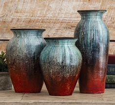 Angel Fire Pottery Vases - Set of 3 A Lone Star Western Decor Exclusive - Sleek, simple shapes are finished in turquoise cascading toward fire red on these dramatic terracotta vases. Mccoy Pottery Vases, Hull Pottery, Antique Pottery, Slab Pottery, Ceramic Pottery, Weller Pottery, Painted Pottery, Thrown Pottery, Pottery Painting