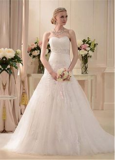STUNNING TULLE SATIN A-LINE SWEETHEART NECKLINE NATURAL WAISTLINE WEDDING DRESS FORMAL PROM EVENING PARTY GOWN