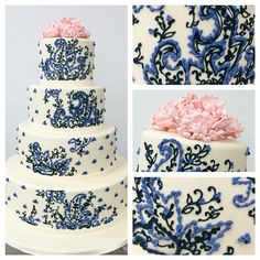 4-tiers of hand piping topped with pink sugar flowers