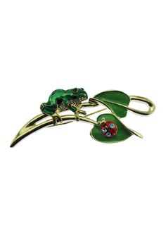 This vintage frog brooch features a small green enamel frog sitting on a gold branch accented with green enamel leaves and a small ladybug. Frog Sitting, Ladybug, Cute Animals, Metal, Brooches, Green, Gold, Enamel, Vintage