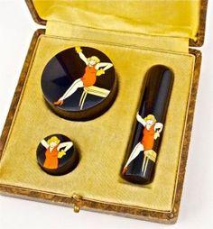 1920s Art Deco Celluloid 3-Pc Make-up Flapper Purse Set