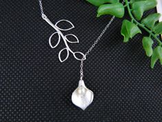 Lariat Bridesmaid Necklace Calla Lily Necklace by DanglingJewelry, $28.00