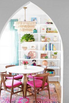 Our Dining Room Reveal! | studiodiy.com Dining Room Colors, Dining Room Design, Colorful Dining Rooms, Colorful Kitchens, Colorful Kitchen Decor, Colorful Decor, Colourful Home, Dining Area, Fun Kitchens
