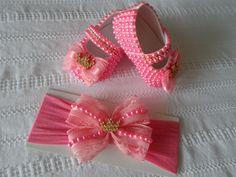 Sapatinho de Bebê Pérolas Rosa