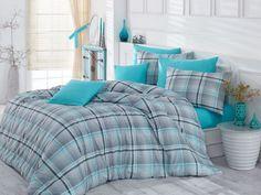 Lenjerie de pat Ranforce Rahel V1 Mavi #homedecor #interiordesign #inspiration #blue #bedsheets #bedroomdecor #decoration Grey And White, Blue Grey, Quilt Cover Sets, Duvet Covers, Comforters, King, Quilts, Blanket, Bed