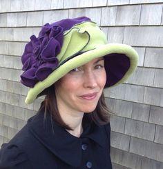 Edwardian Suffragette Hat Polar Fleece Purple and от hatjunkie