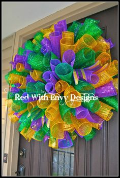 Mardi Gras Wreath, Wreath, Deco Mesh Wreath, Spiral Wreath, Curly Wreath, Mardi Gras, Mardi Gras Decoration. $65.00, via Etsy.