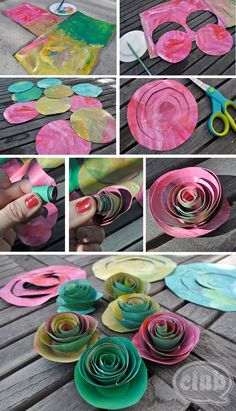 great DIY on how to make your own painted roses bouquet from ordinary paper grocery bags