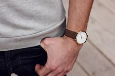 Classic watch with brown leather strap from Larsson & Jennings Larsson & Jennings, Brown Leather, Watches, Classic, Derby, Wristwatches, Clocks, Classic Books, Tan Leather