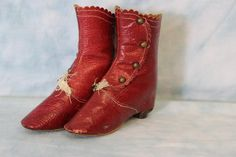 RARE Antique Red Leather French Fashion or German Bisque Doll Boots Shoe Buttons Rare Antique, Antique Dolls, Riding Boots, Combat Boots, Old Shoes, Bisque Doll, Childrens Shoes, French Fashion, Doll Accessories