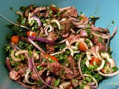 Yum Nua - Thai Spicy Beef Salad. Eat plain or with rice and fish sauce.