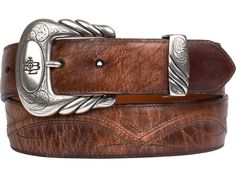 Lucchese Men's Belt | Mad Dog Goat in Tan | Seville Stitching #LuccheseBelts #LuccheseBoots