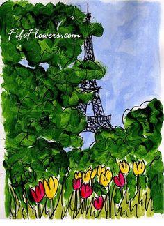 Tree Tulips Eiffel