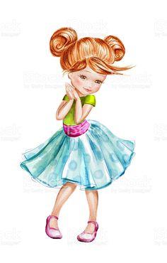 Linda linda menina tímida, aquarela com personagem de desenho vetor e ilustração royalty-free royalty-free