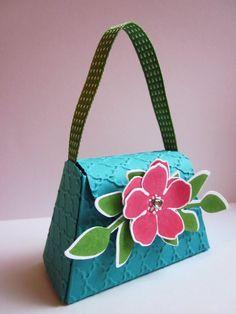 #Stampin Up - BigZ L Minitasche - Petite Purse - Prägefolder Fächerfantasie - Secret Garden - Verpackung