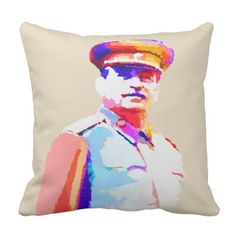 Vintage Joseph Stalin WW2 Russia Dictator Colorful Throw Pillow - decor gifts diy home & living cyo giftidea