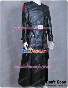 Captain America Red Skull Black Pleather Costume Long Coat