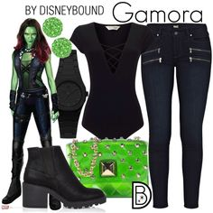 Gamora Disneybound- Welcome to the OFFICIAL website! DisneyBound is meant to be inspiration for you to pull together your own outfits which work for your body and wallet whether from your closet or local mall. As to Disney artwork/properties: ©Disney Marvel Inspired Outfits, Disney Themed Outfits, Disney Inspired Fashion, Character Inspired Outfits, Disney Bound Outfits, Marvel Fashion, Cosplay Casual, Cosplay Outfits, Disney Cosplay