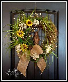 Summer Wreaths Sunflower Rustic Wreaths Burlap Wreath by JWDecor on Etsy,