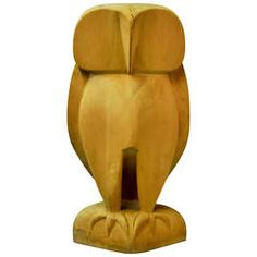 20th Century Abstract Wooden Standing Owl Sculpture