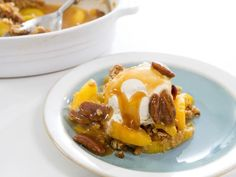Get Ginger Peach Crumble and Buttered Pecan Topping Recipe from Food Network