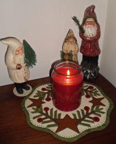 Free+Primitive+Penny+Rug+Patterns | Pattern Penny Rug Spruce Stars Candle Mat Primitive | eBay