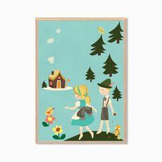Hansel and Gretel Poster : Modern Illustration Children Fairy Tale Retro Art Wall Decor Print A4 8 x 11 on Etsy, $15.77