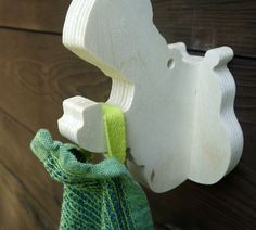 Playful animal wall hook: plywood hippo head wall hanger by lxrns