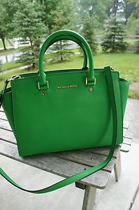 f60f45943158 Stunning...Michael Kors Selma Large Leather Satchel Handbag in Palm ...