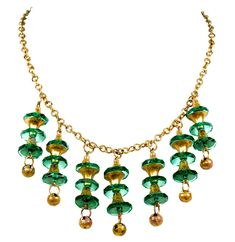 VTG 20'S ART DECO CZECH EMERALD GLASS GILDED BRASS DANGLES NECKLACE  | eBay