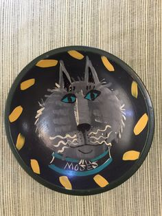 Hand Painted Bowl  OOAK  Moses the Cat  Betsy by PineStreetPickers